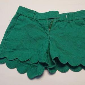 J. Crew Green Scalloped Shorts